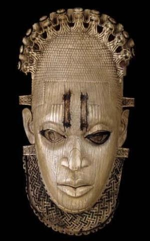Mask of Queen-Mother Idia that was to be auctioned by Sotheby's but withdrawn by the Galway family after protests by Africans.
