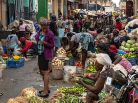 Women street vendors in Haiti