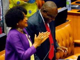 South African President Cyril Ramaphosa and National Assembly Speaker Baleka Mbete