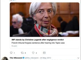 Finance Minister Tito Mboweni (in 2013 and 2016) tweeted about Lagarde's own corruption trial in France