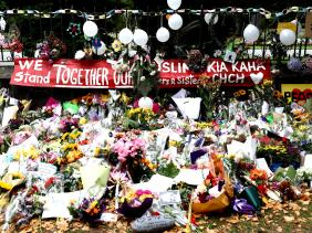Flowers at the Christchurch attack scene