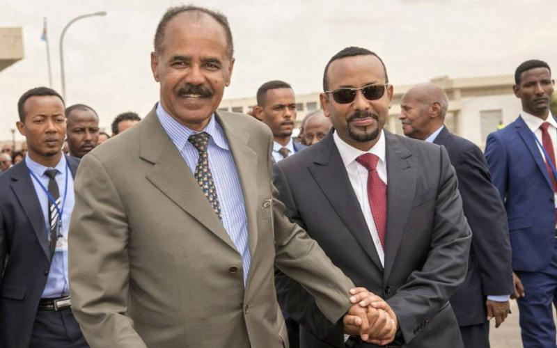 Ethiopia and Eritrea leaders embrace in Asmara during historic 8-9 July  2018 state visit