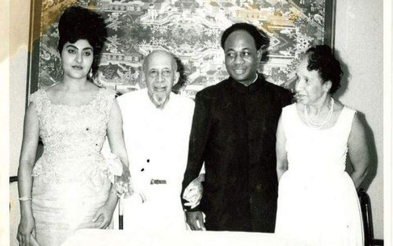 Kwame Nkrumah and Fathia with the Du Boises, August 1963