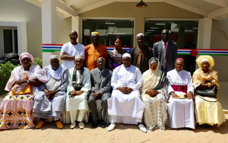 The Gambia's president with members of the Truth, Reconciliation and Reparations Commission