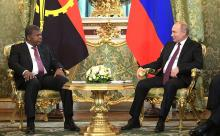 Presidents Vladimir Putin of Russia and João Lourenço of Angola